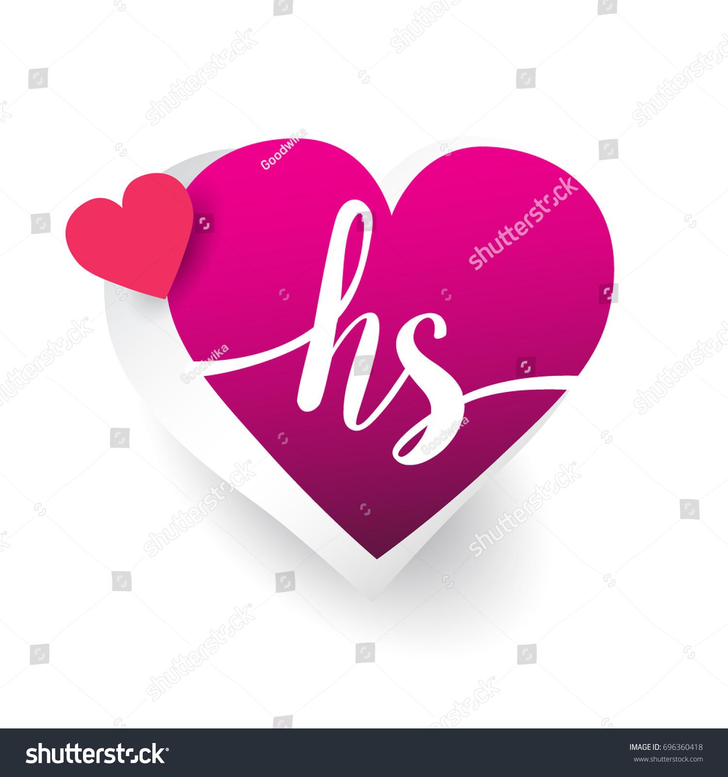 Initial Logo Letter HS Heart Shape Stock Vector (Royalty Free ...