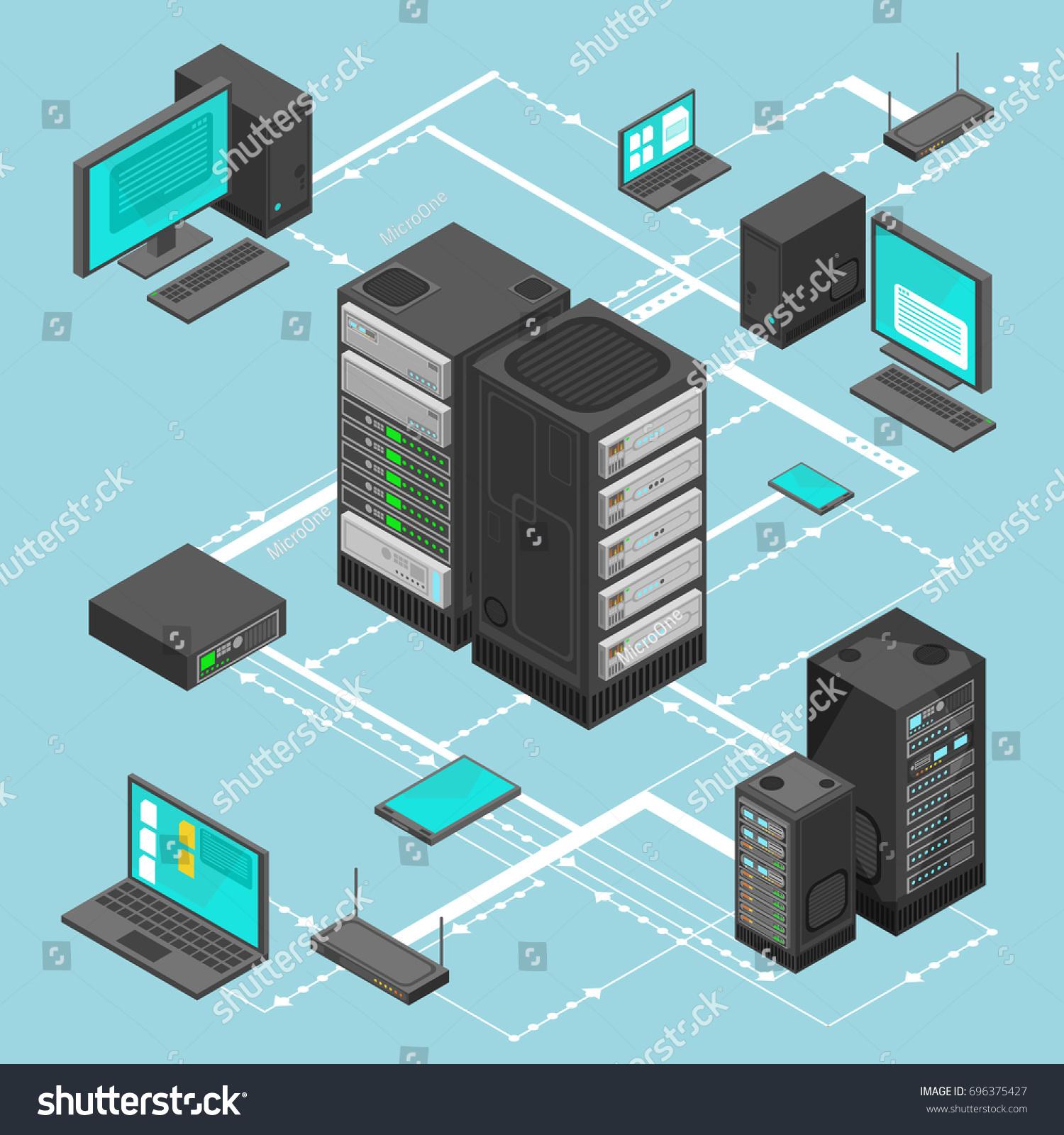 Data Network Management Isometric Map Business Stock Illustration ...