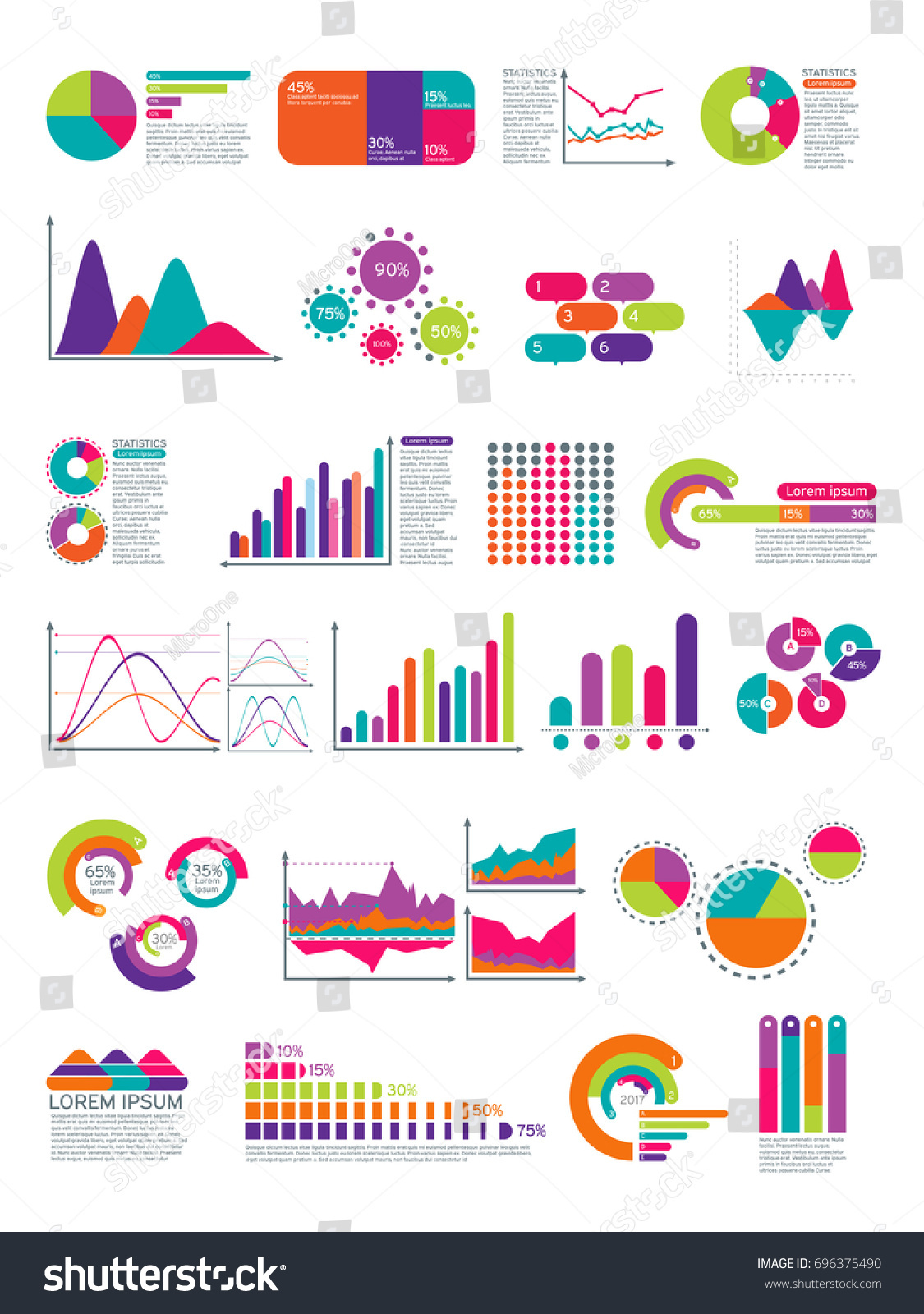 Elements Infographic Flowchart Statistics Diagrams Website Stock