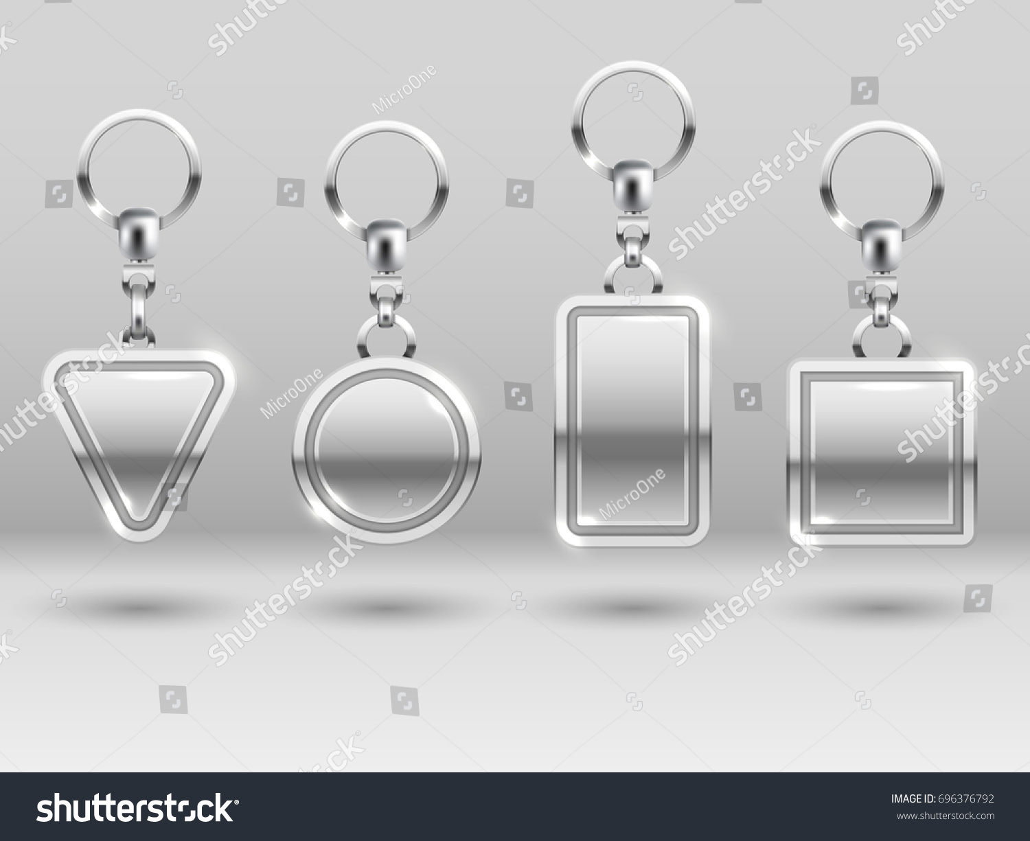 Silver Keychains Different Shapes House Door Stock Illustration ...