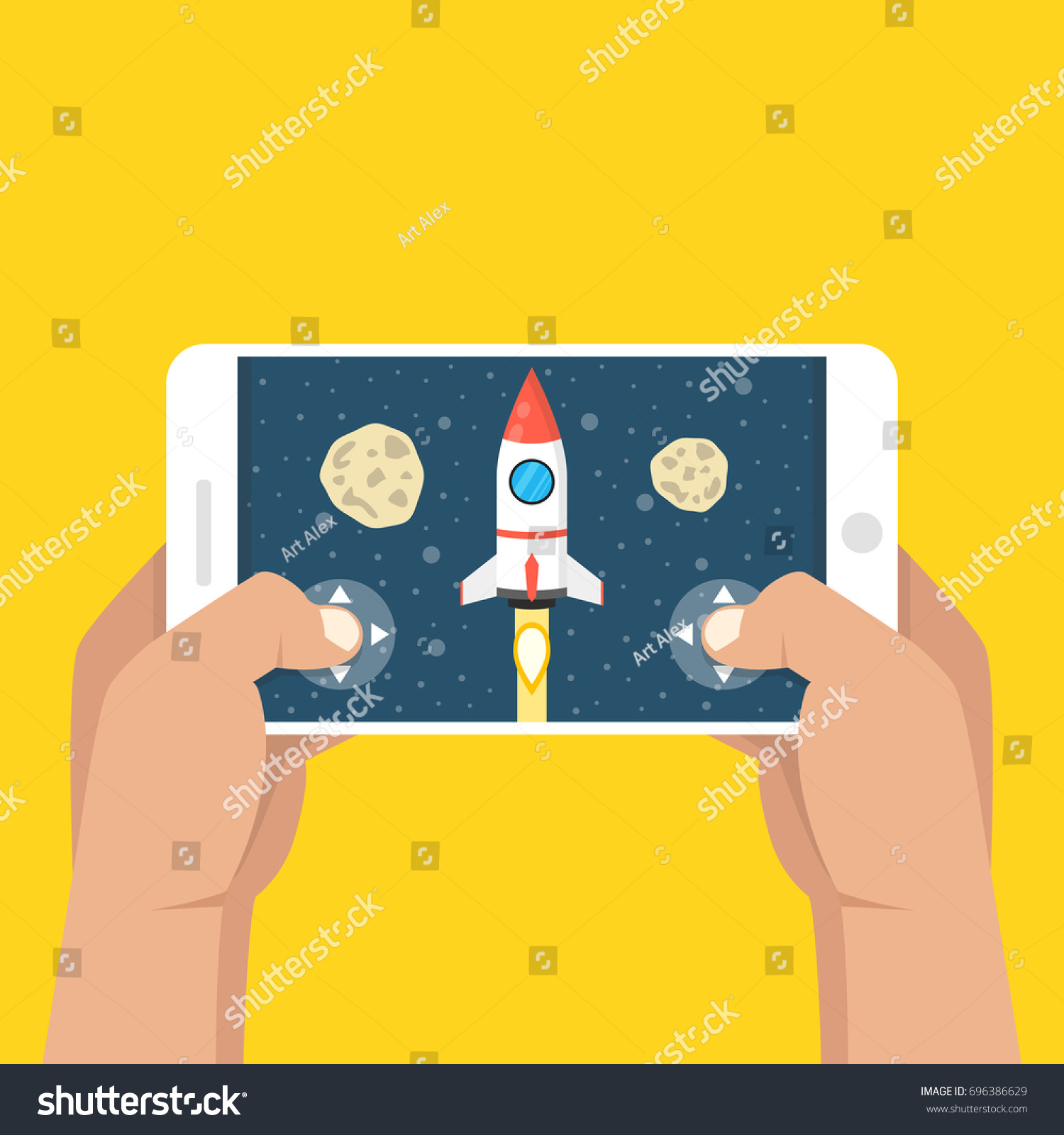 Man Holding Smartphone Playing Rocket Game Stock Vector