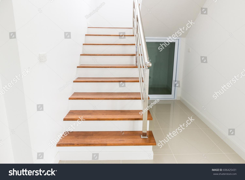 Interior Design Staircase Concrete Top Wooden Stock Photo (Safe to ...