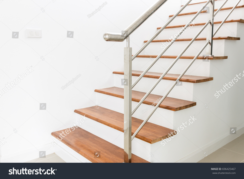 Interior Design Staircase Concrete Top Wooden Stock Photo (Royalty ...