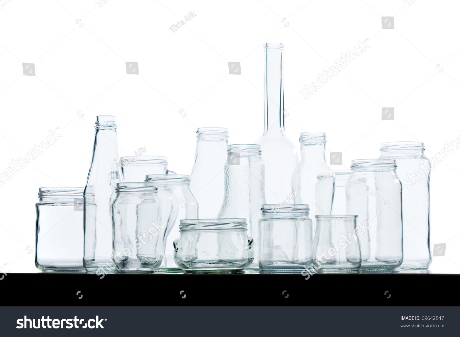 Assorted Empty Glass Jars Bottles Various Stock Photo