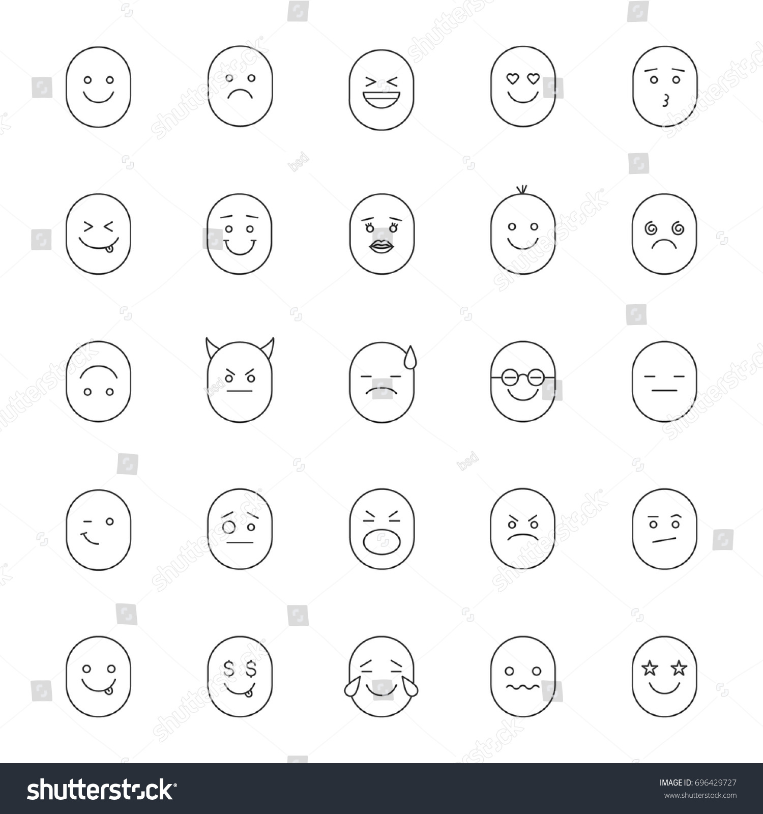 Smileys linear icons set emoticons feelings stock vector 696429727 smileys linear icons set emoticons feelings emotions thin line contour symbols biocorpaavc Images