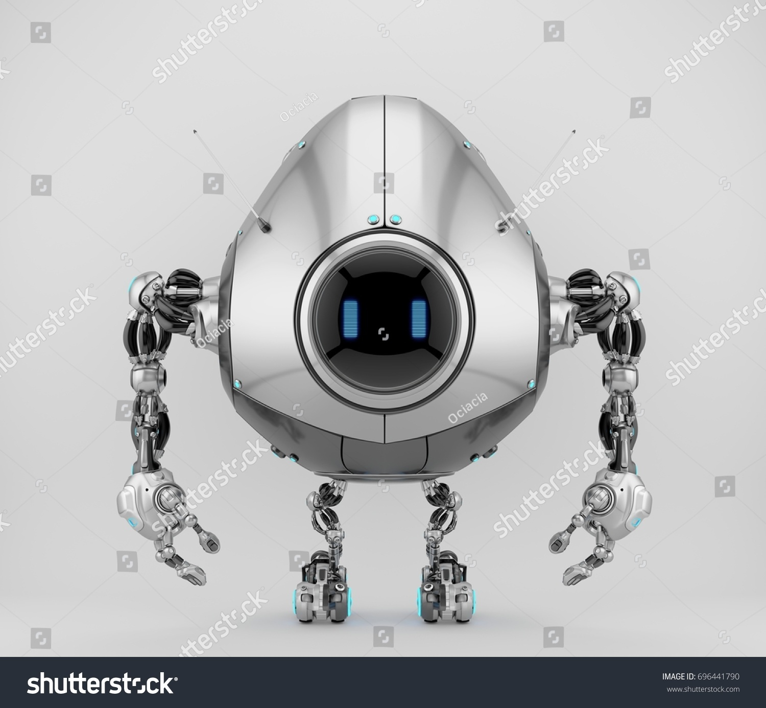 Futuristic Smart Silver Egg Bot Toy Stockillustration 696441790