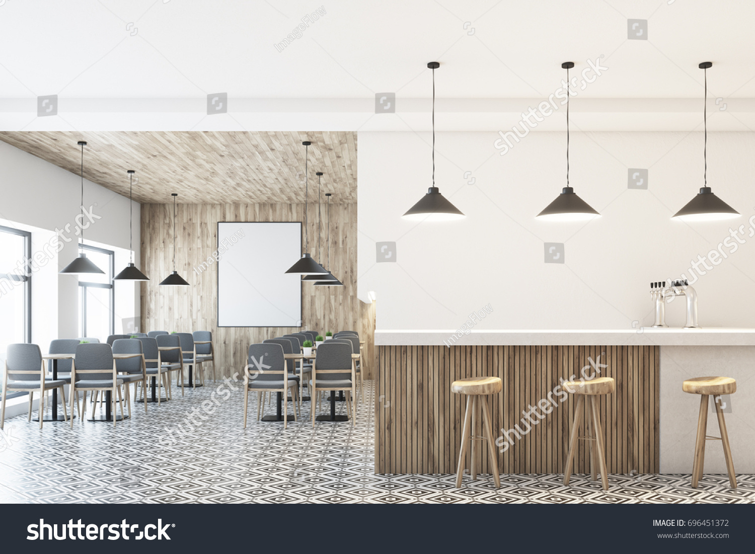 white cafe interior wooden wall ceiling stock illustration stock photo white cafe interior with a wooden wall and ceiling a vertical framed poster on a wall - White Cafe Design
