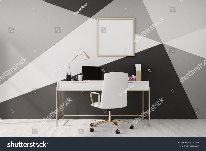 Black White Geometric Wall Pattern Home Stock Illustration 696460105 ...