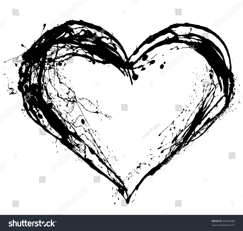 Abstract Valentine Black Heart On White Stock Illustration 69646684 ...