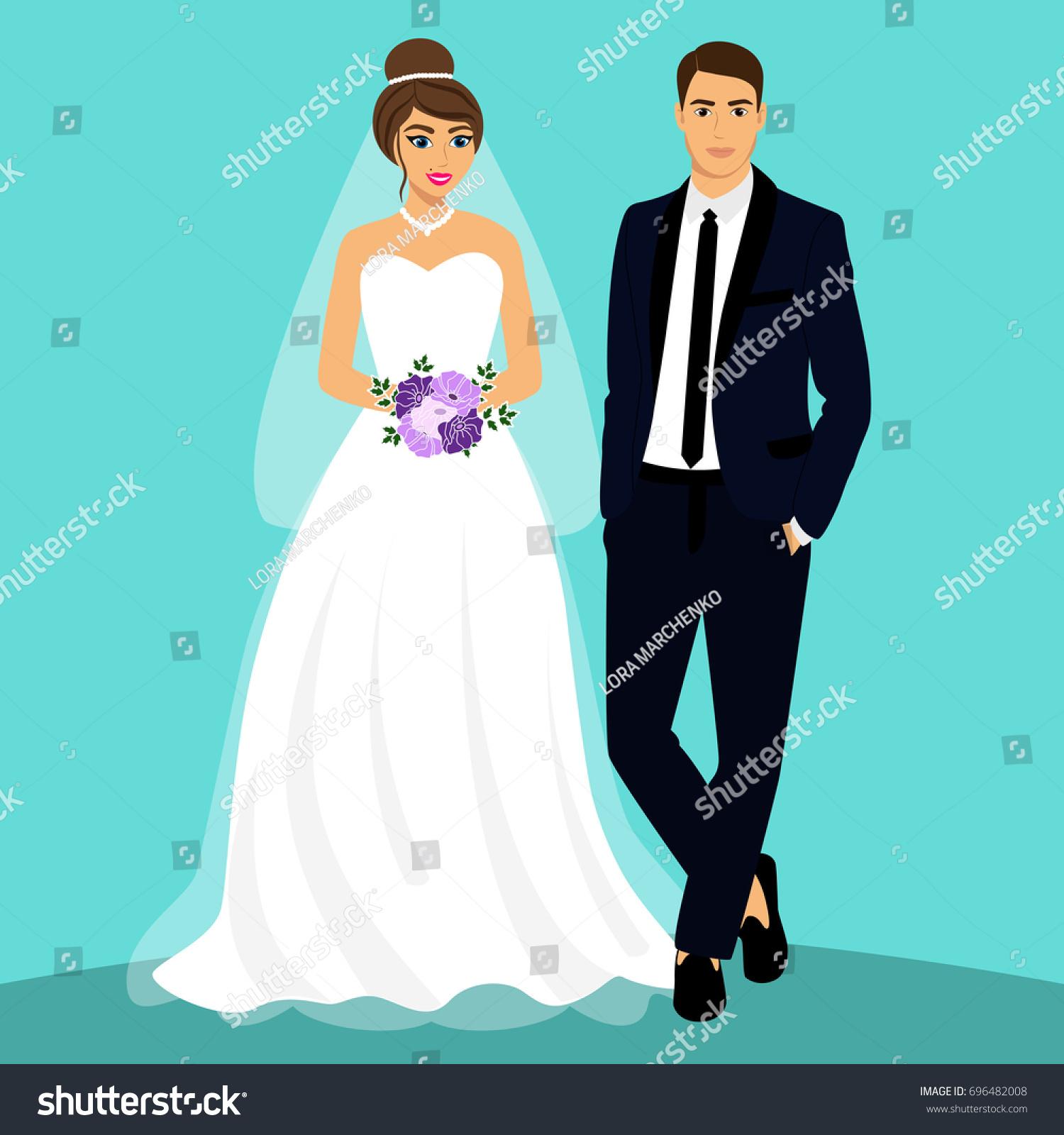 Bride Groom Couple Wedding Card Newlyweds Stock Vector 696482008 ...