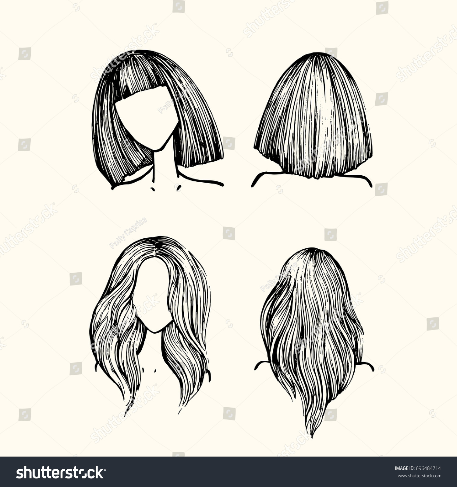 A Set Of Hairstyles Is Front View And Back Long Hair