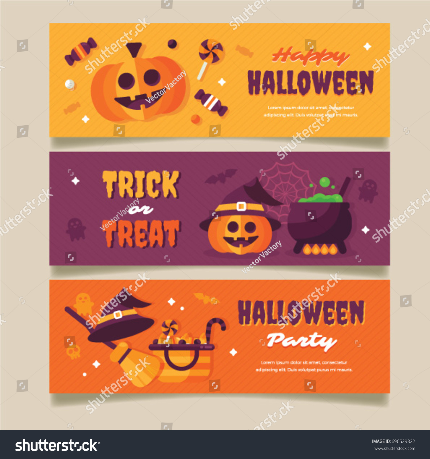 halloween party poster, flyer, web banner design with typography