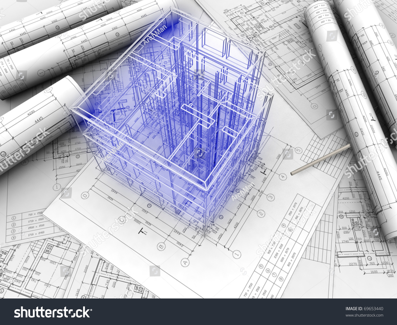 3d Plan Drawing Stock Photo 69653440 Shutterstock