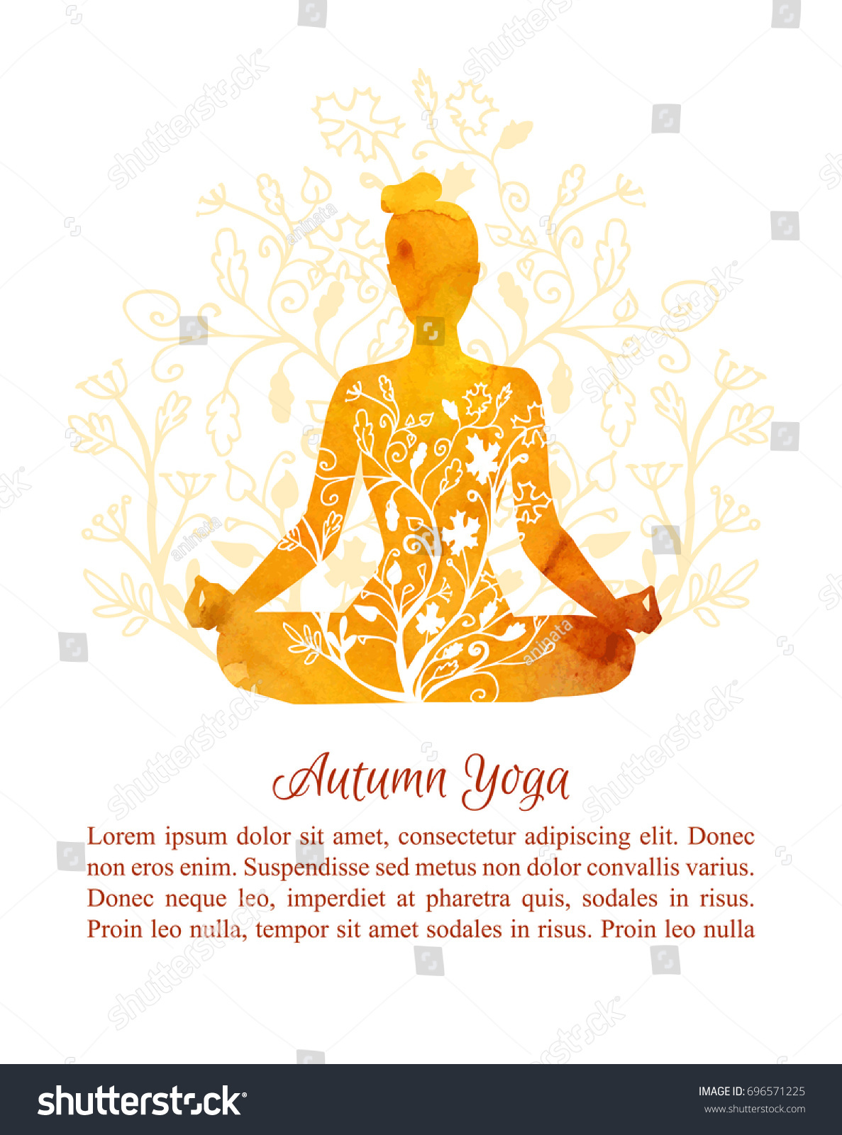Card Poster Flyer Template Autumn Yoga Stock Vector Royalty Free 696571225