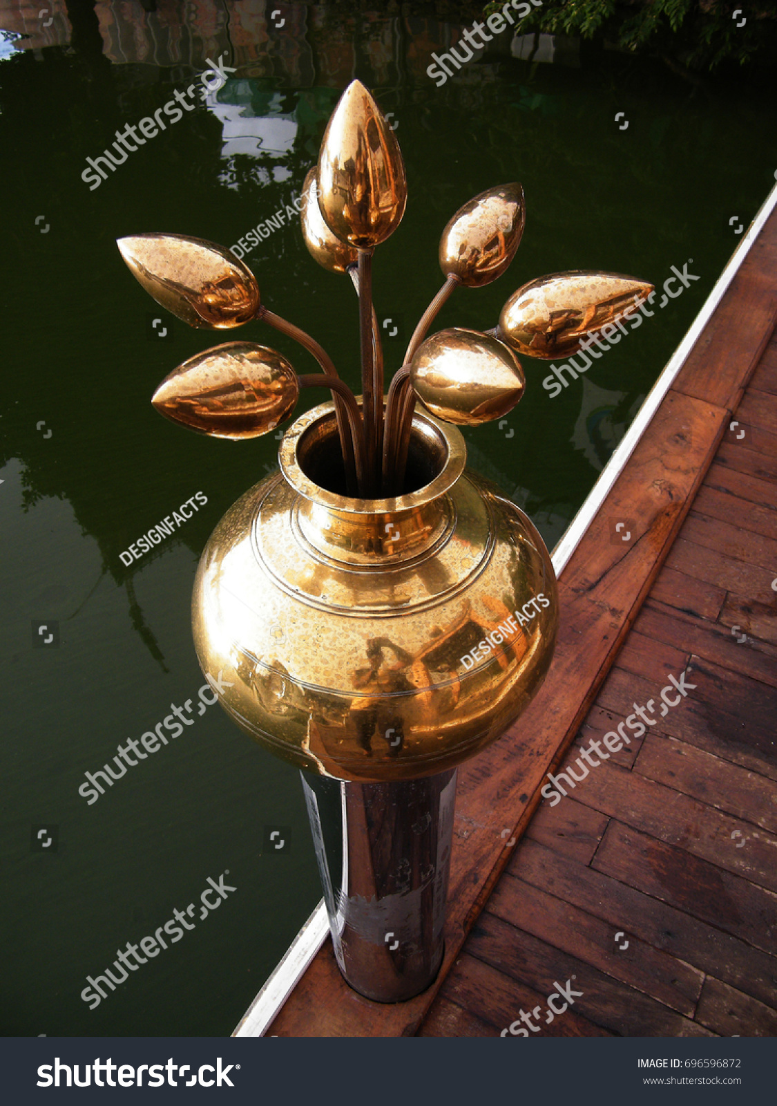 Buddhist Temple Decor Golden Lotus Flower Stock Photo Edit Now