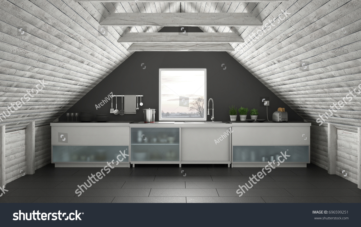 Scandinavian industrial kitchen loft mezzanine roof architecture white and turquoise interior design 3d illustration | EZ Canvas