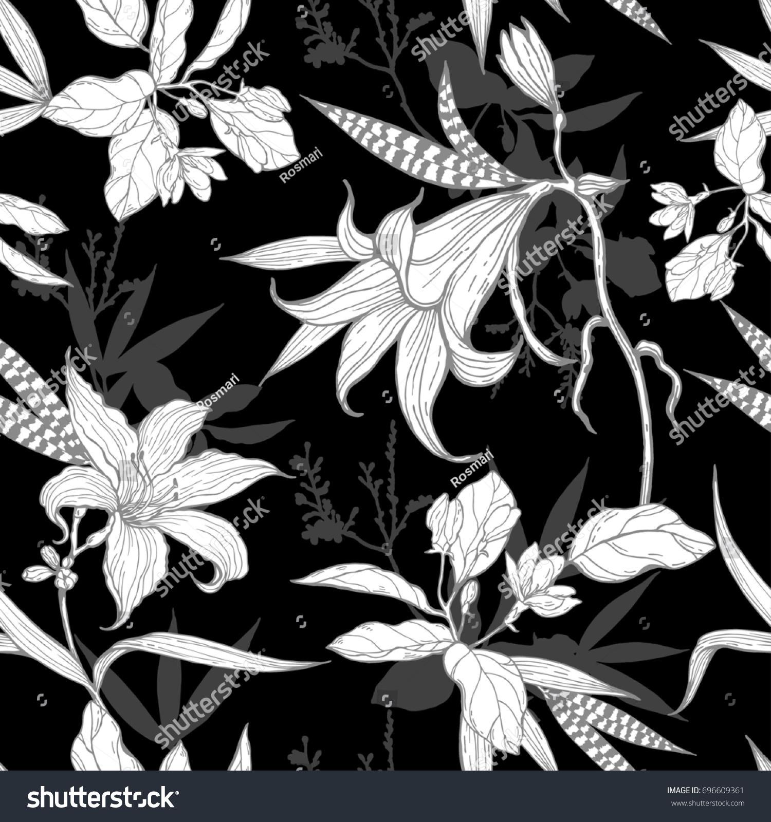 Black White Flowers Pattern On Black Stock Illustration 696609361