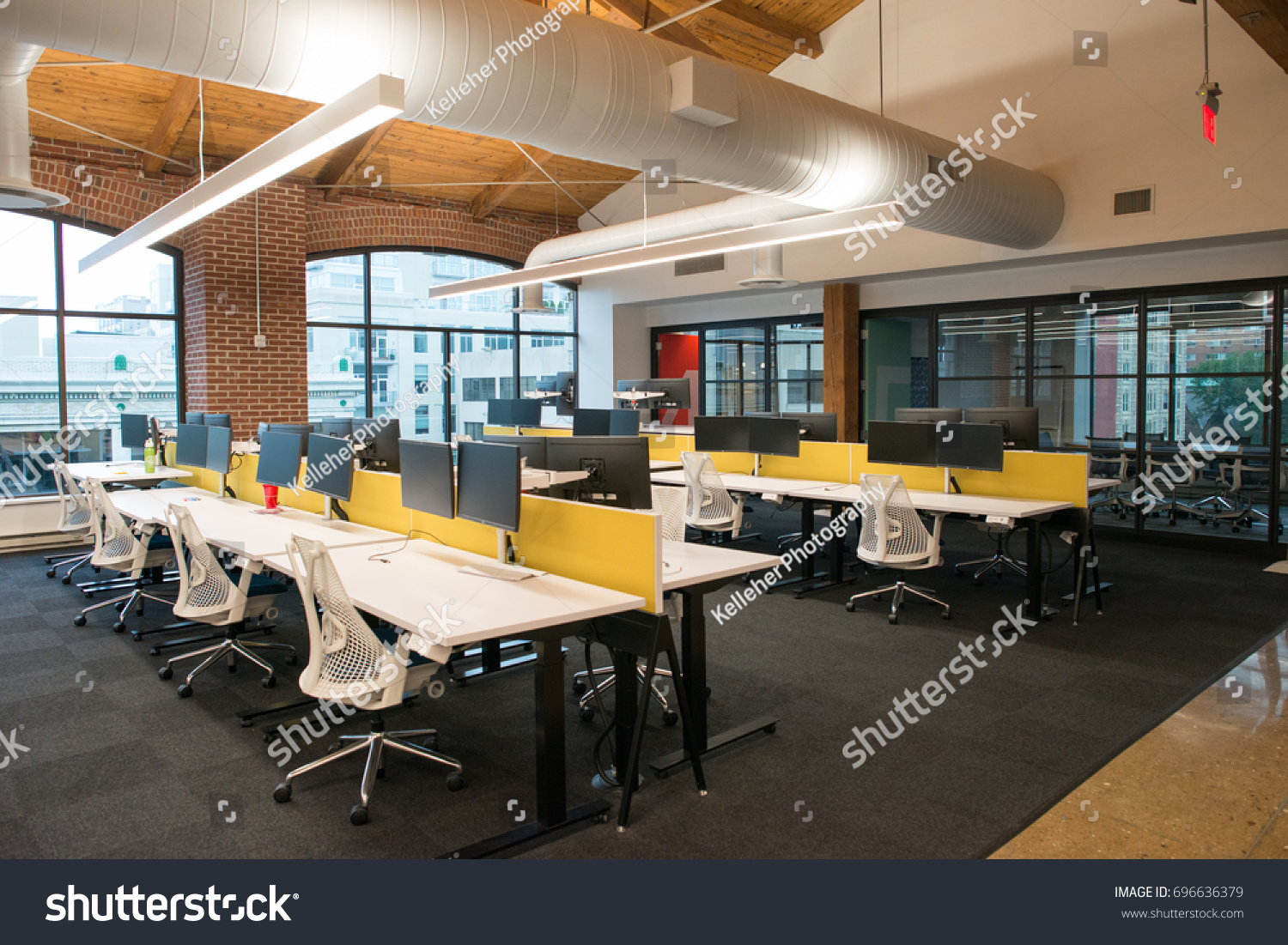 natural light office. Trendy Modern Open Concept Loft Office Space With Big Windows, Natural Light And A Layout
