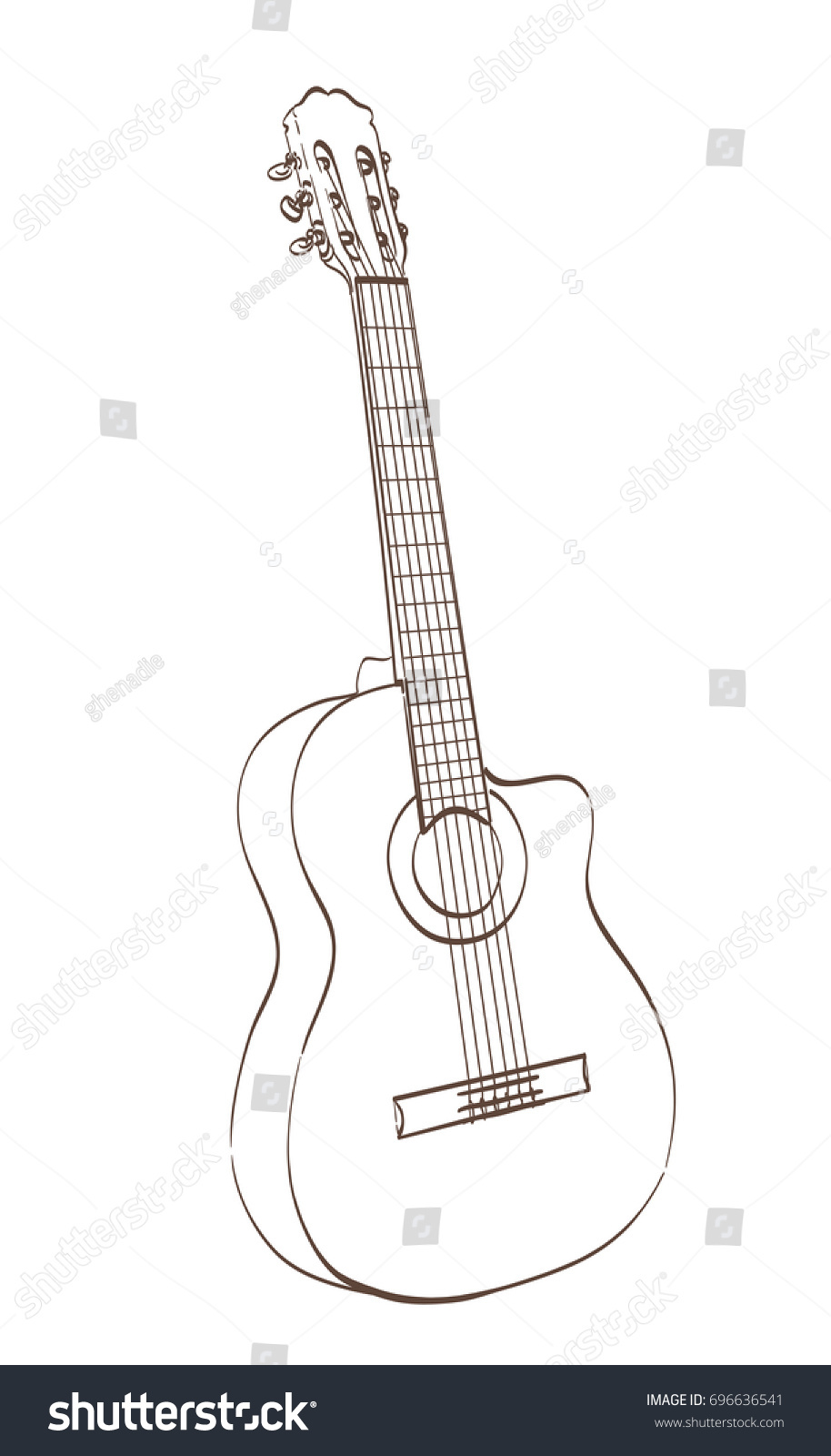 Classical Cutaway Guitar Outlines Drawing Vector Stock Vector