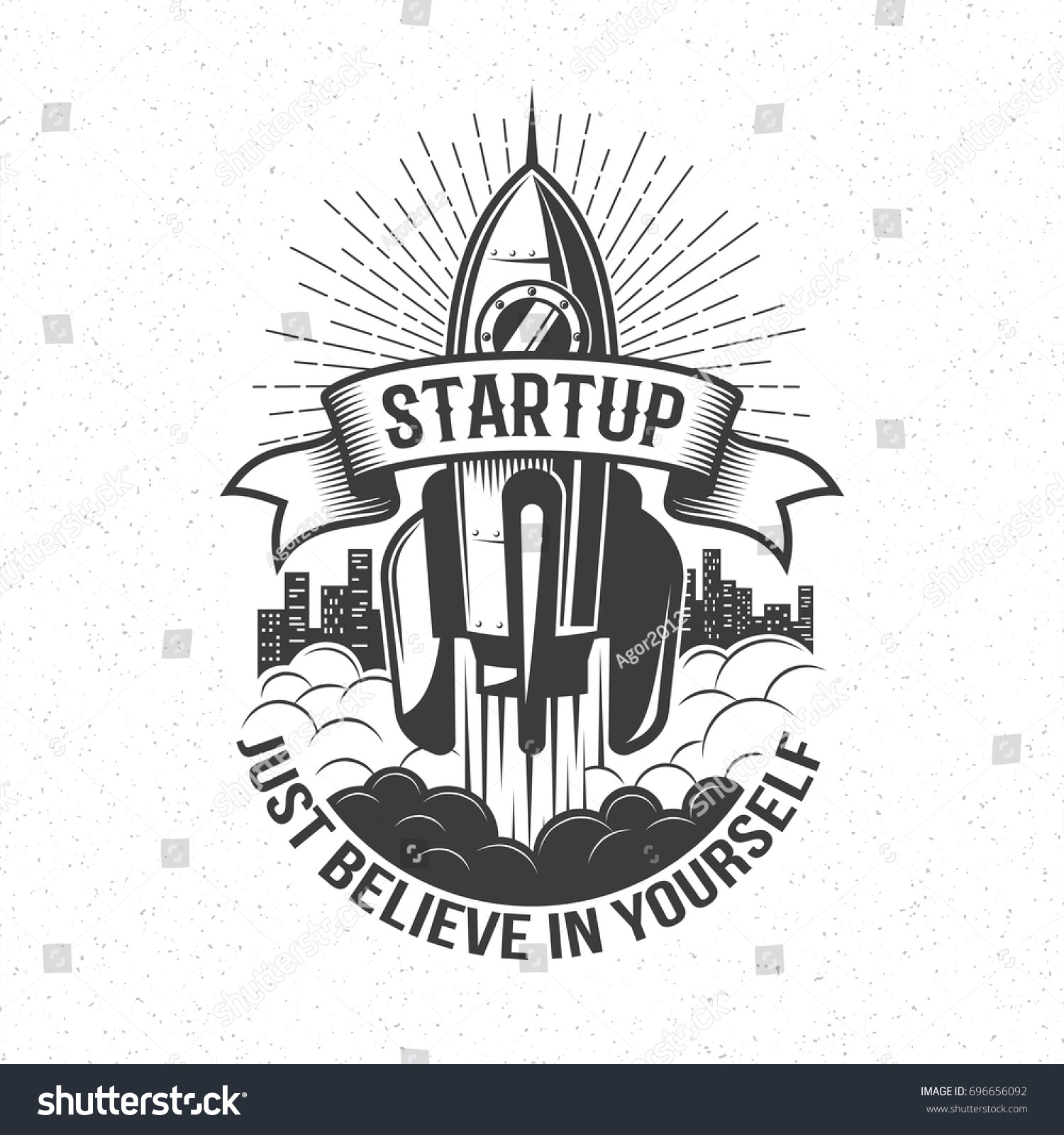 Startup retro logo rocket launch sky stock vector 696656092 startup retro logo rocket launch in the sky with word on ribbon and believe in biocorpaavc Choice Image
