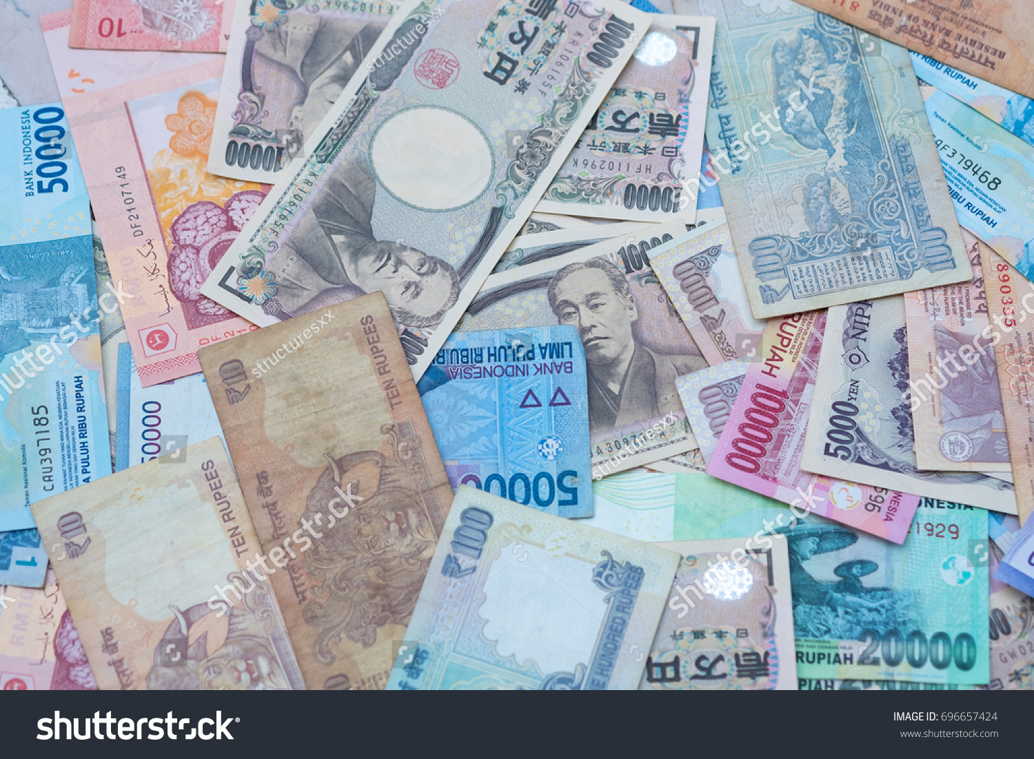 Background Asian Currency Include Indonesia Idr Stock Photo Edit