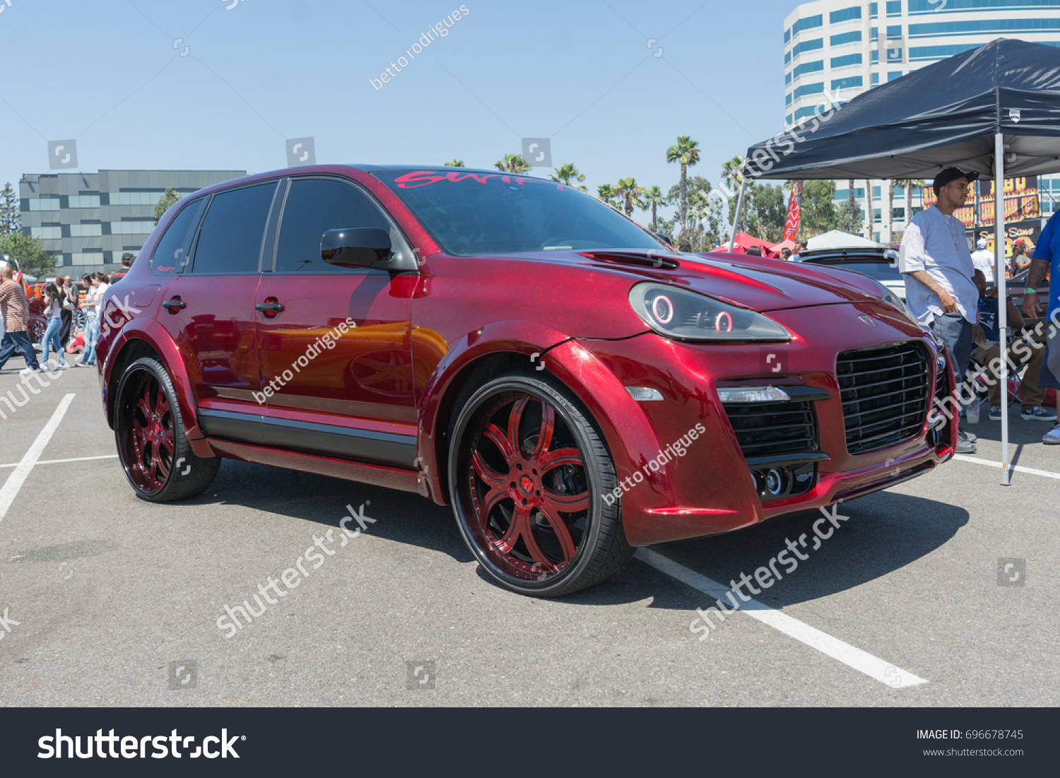 Anaheim USA August Porsche Cayenne On Display During - Angel stadium car show
