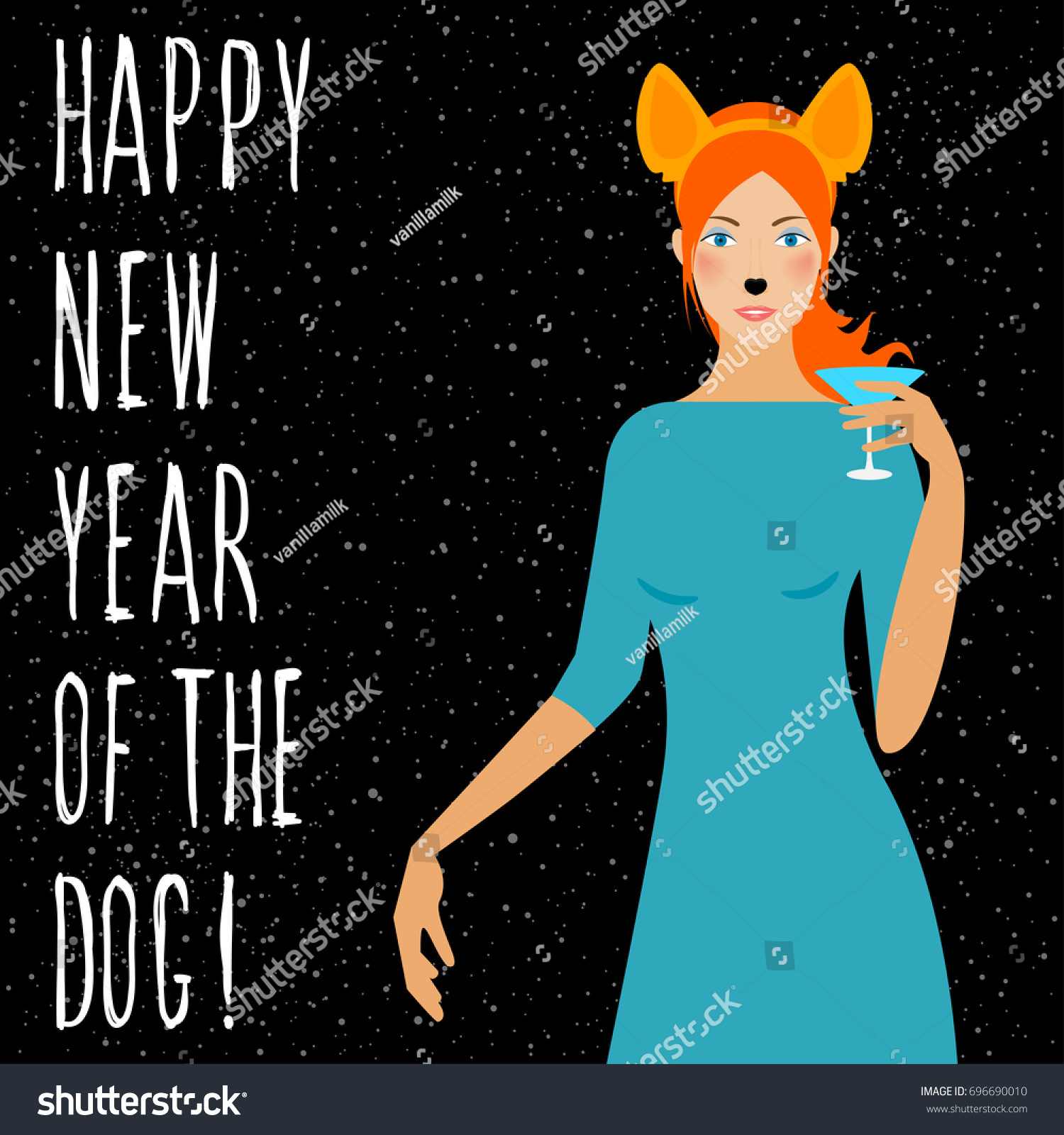 happy new year card handwritten quote and cartoon girl with dog ears mask for new