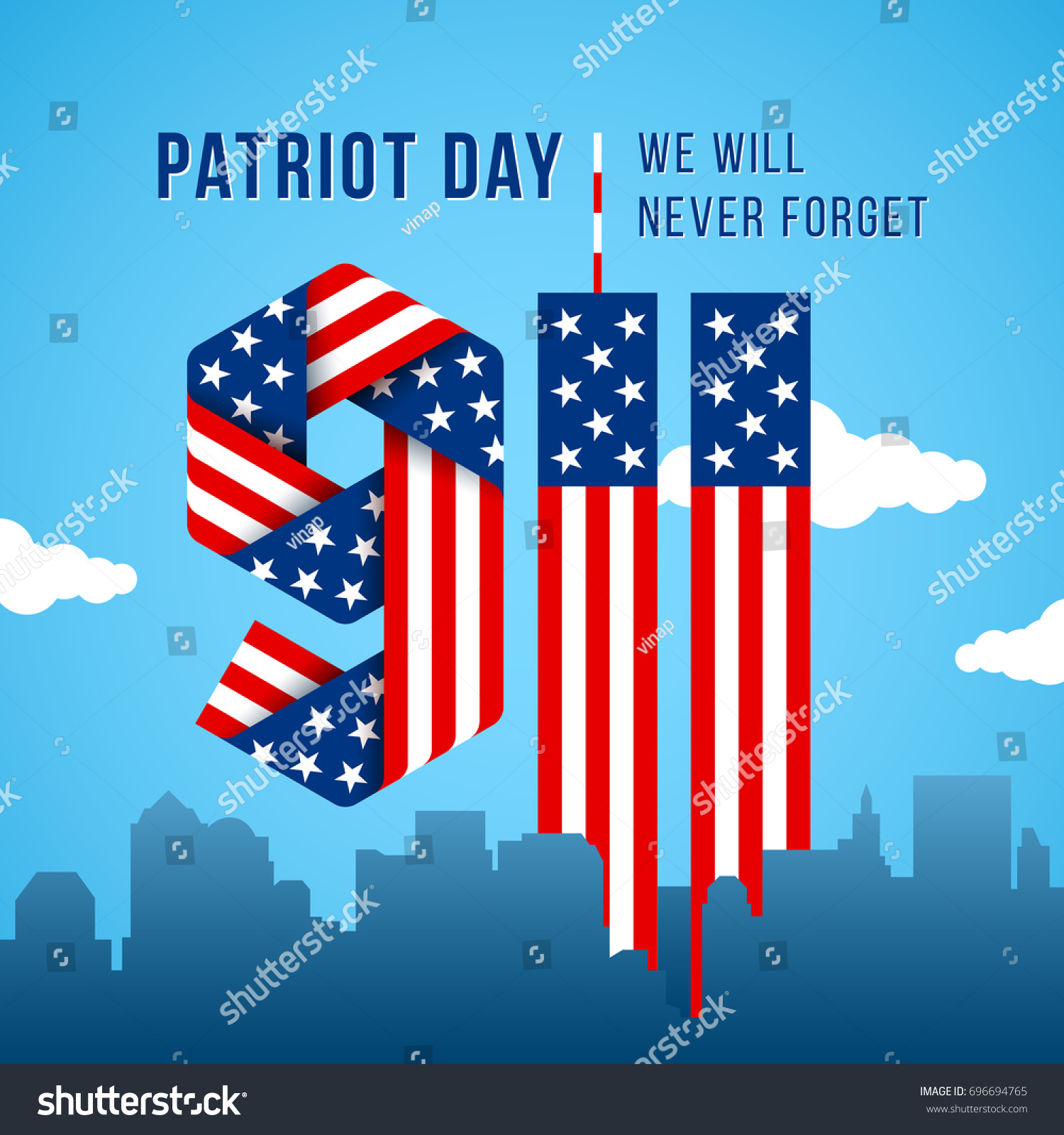 Usa 911 patriot day greeting card stock vector 696694765 shutterstock usa 911 patriot day greeting card digits made of ribbons with american flags stars and kristyandbryce Images