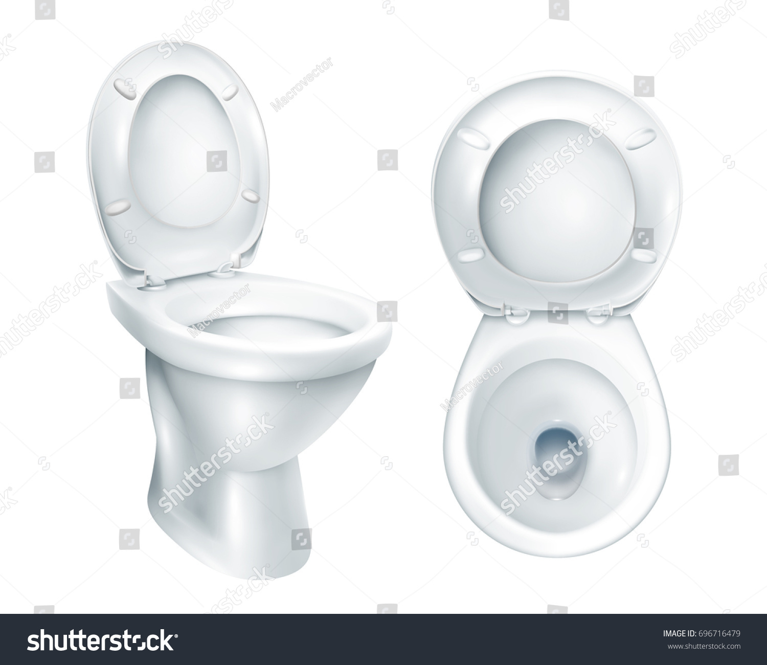Realistic toilet top view and general mockup with raised plastic seat on  white background isolated vector. Realistic Toilet Top View General Mockup Stock Vector 696716479