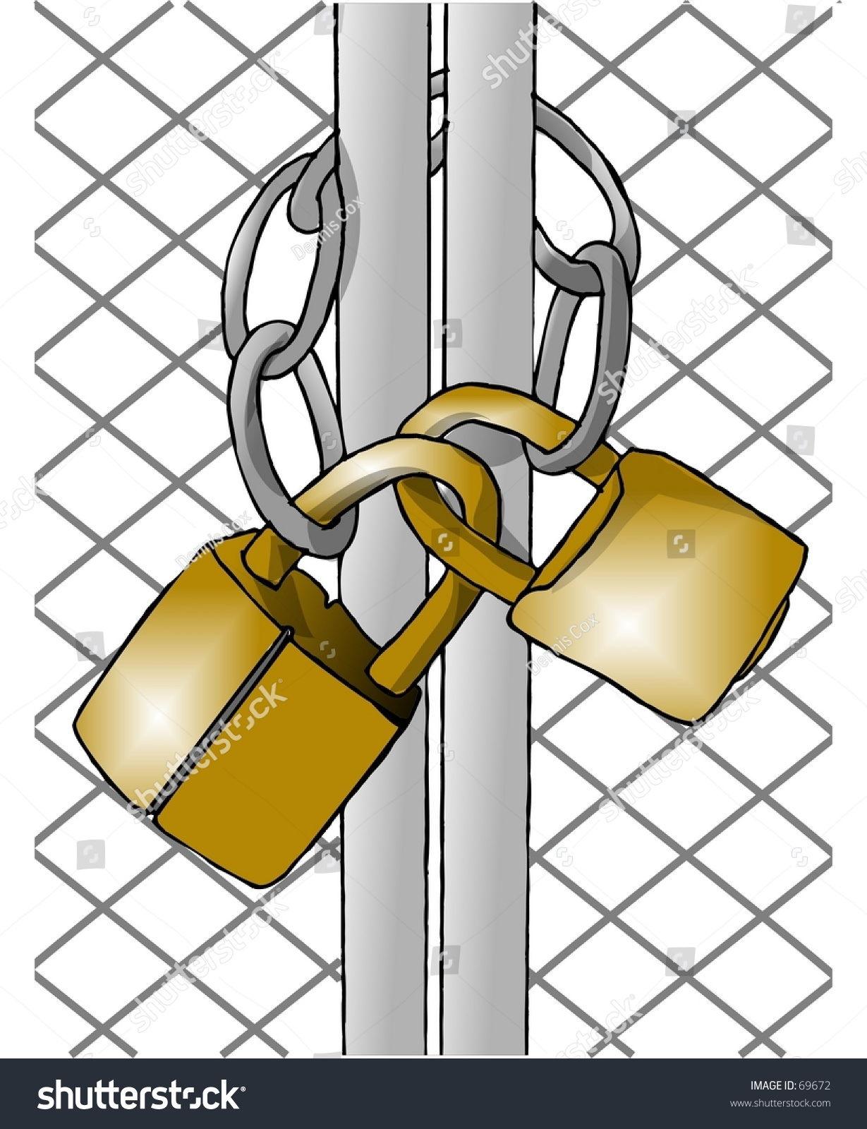 Clipart illustration of padlocks and a chain on gate