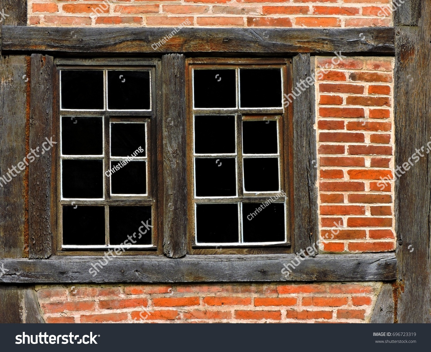 Old Wood Framed Windows On Old Stock Photo 696723319 - Shutterstock