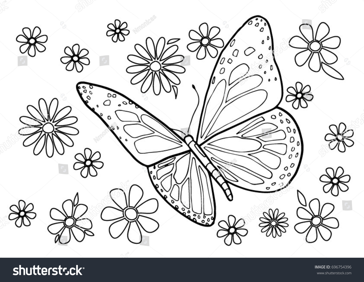 color coloring page adults kids butterfly stock vector 696754396