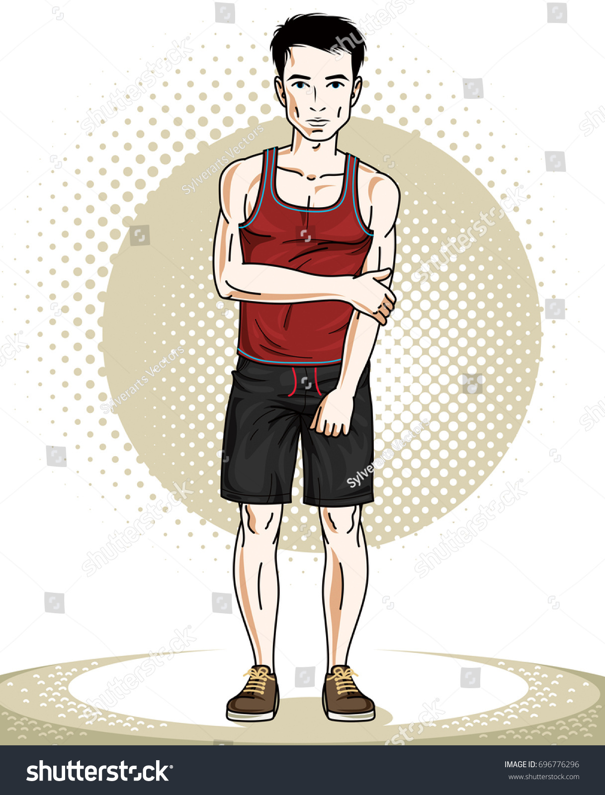 Handsome Athletic Brunet Young Man Standing Stock Illustration