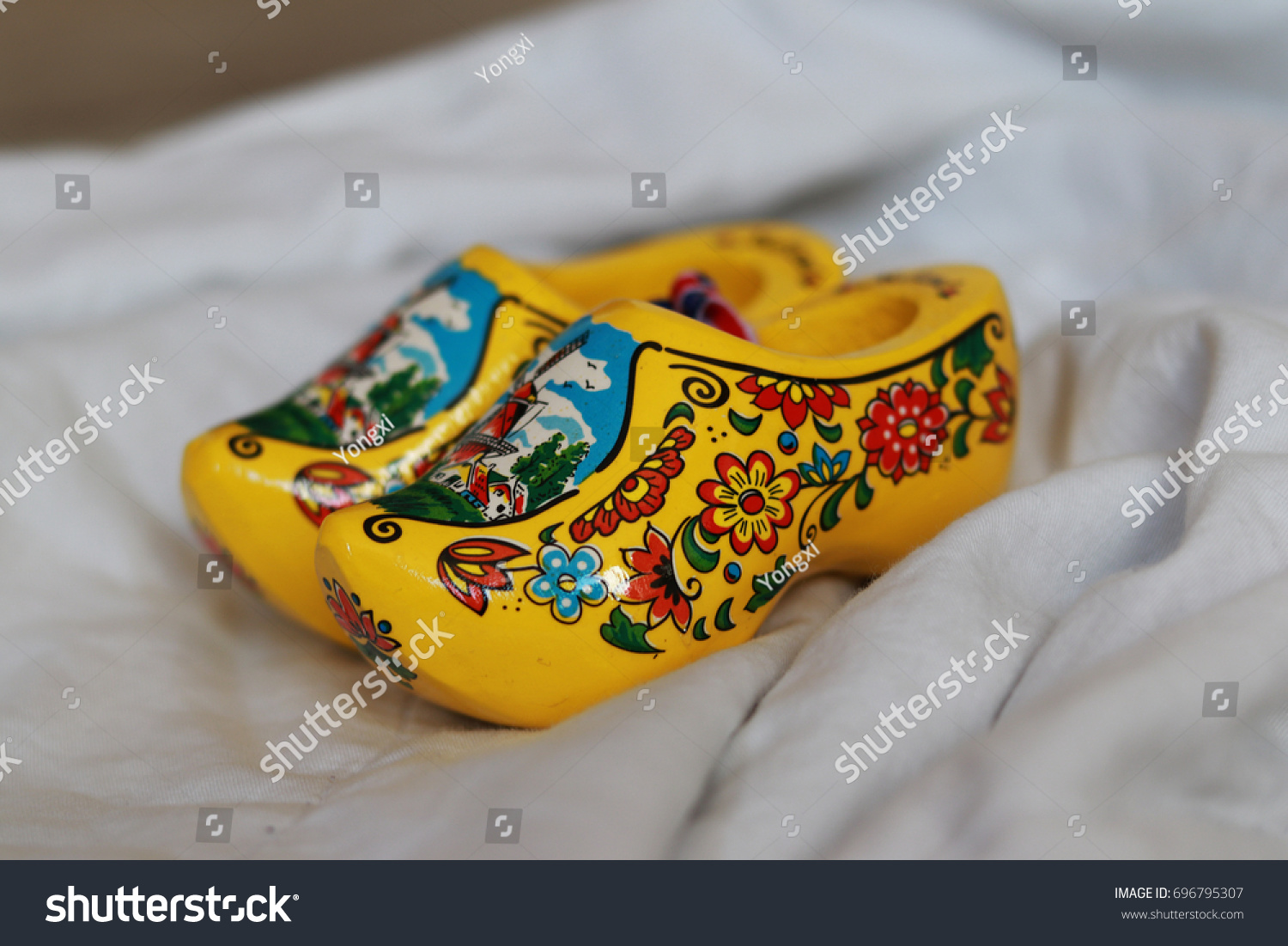 close dutch wooden shoes clogs yellow stock photo 696795307