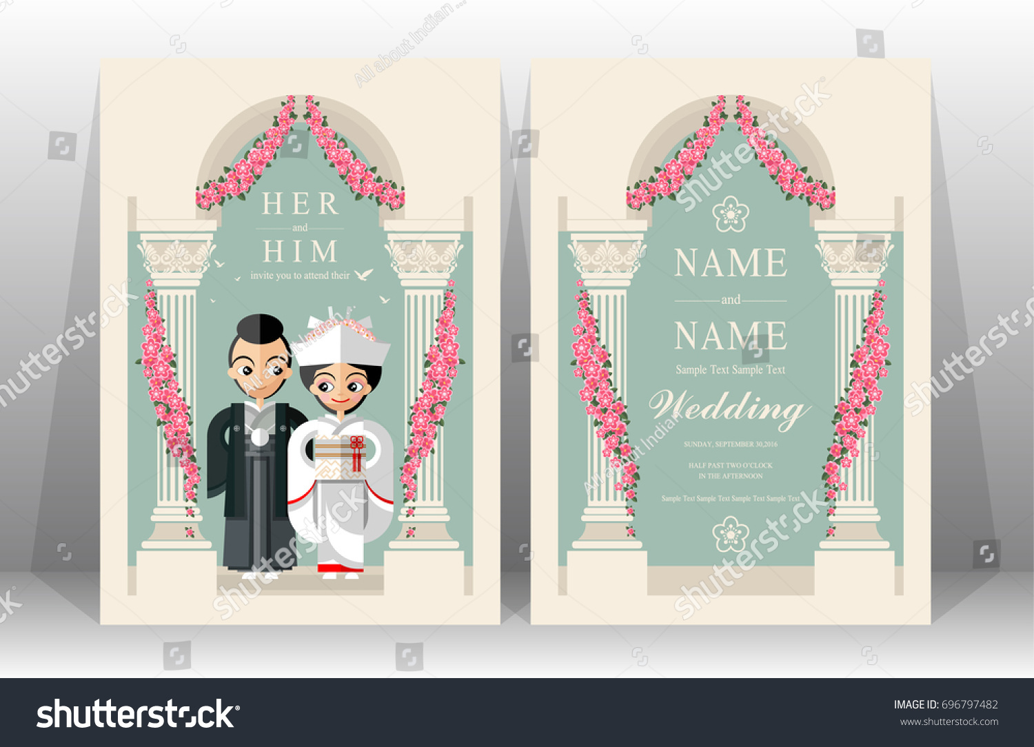 Japanese Wedding Invitation Card Templates Set Stock Vector