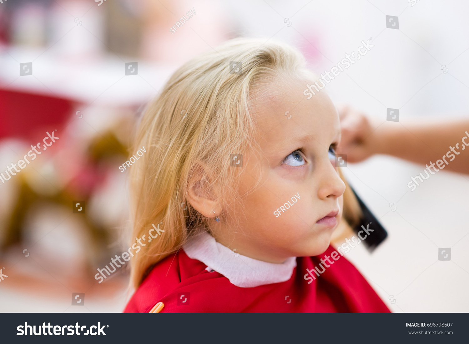 Little Girl Gets Haircut Barber Shop Stock Photo Edit Now