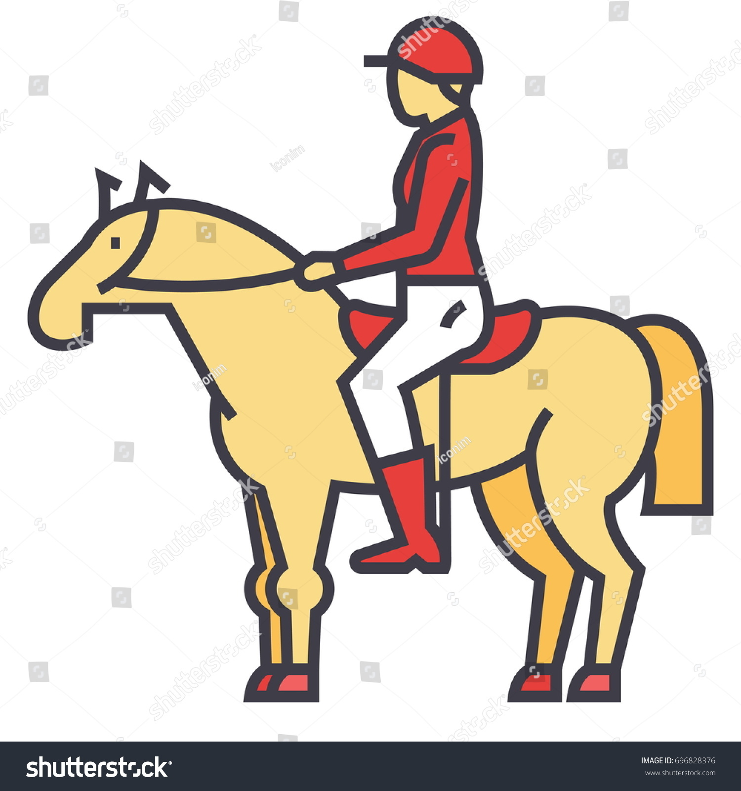 Racing Horse Rider Horseman Jockey Race Concept Line Vector Icon