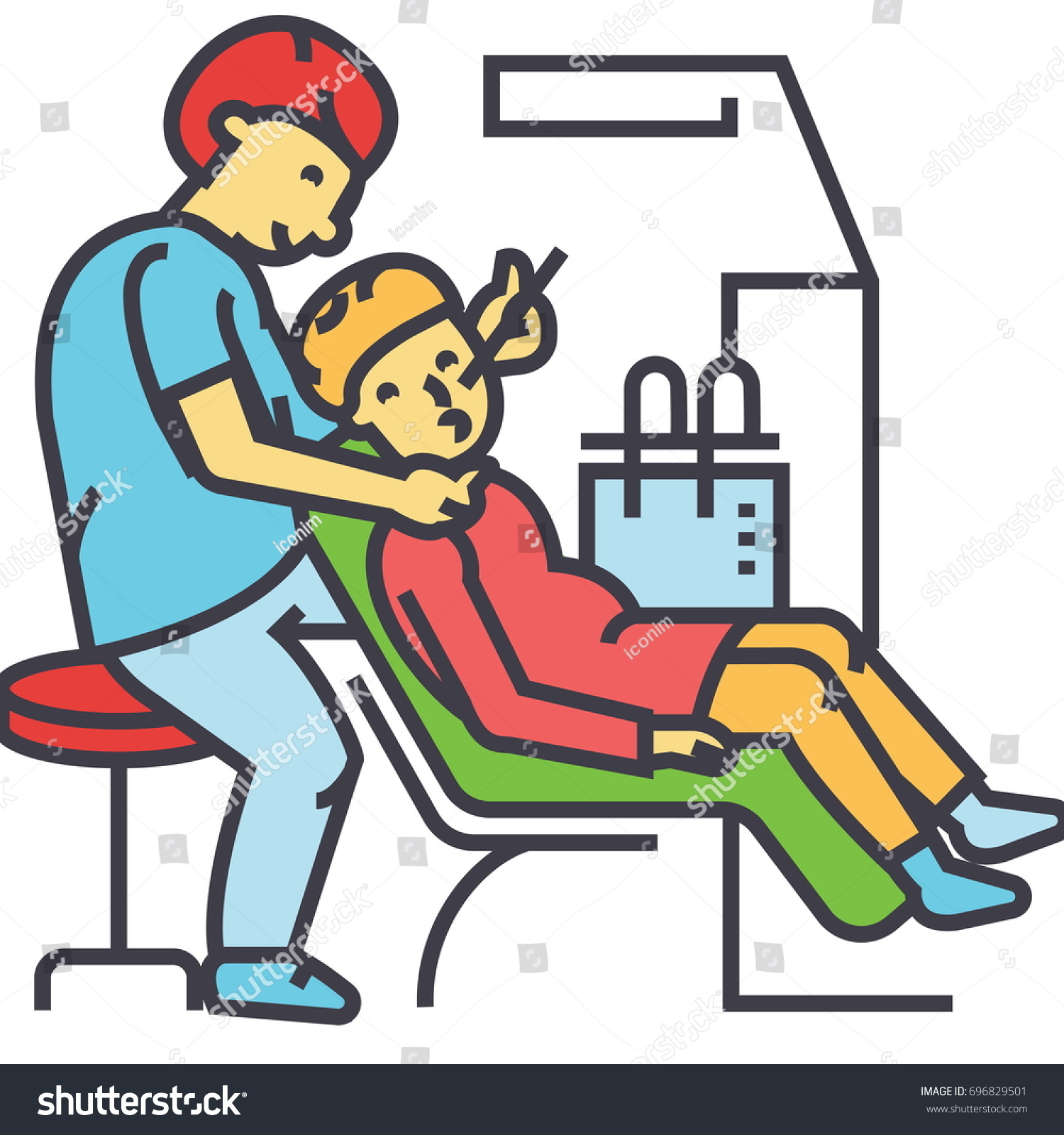 Dentist Working Stomatology Dental Patient Concept Line Vector Icon Editable Stroke
