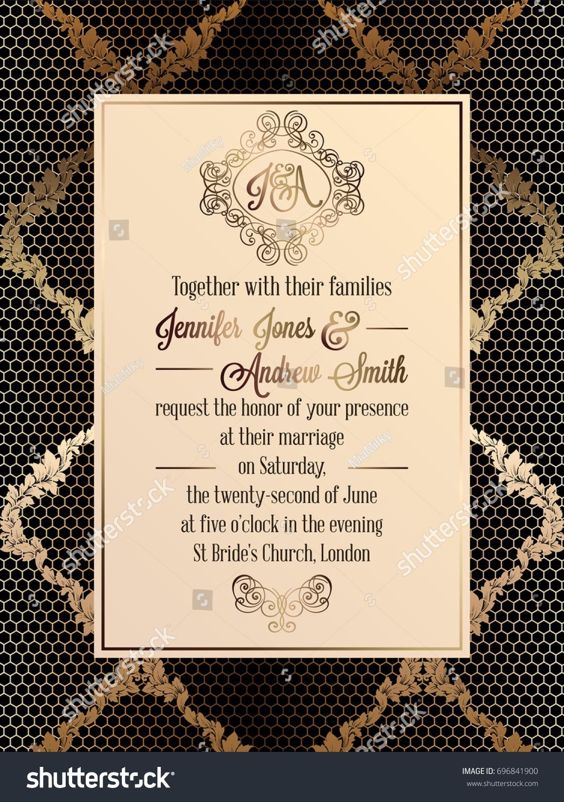 Vintage Baroque Style Wedding Invitation Card Stock