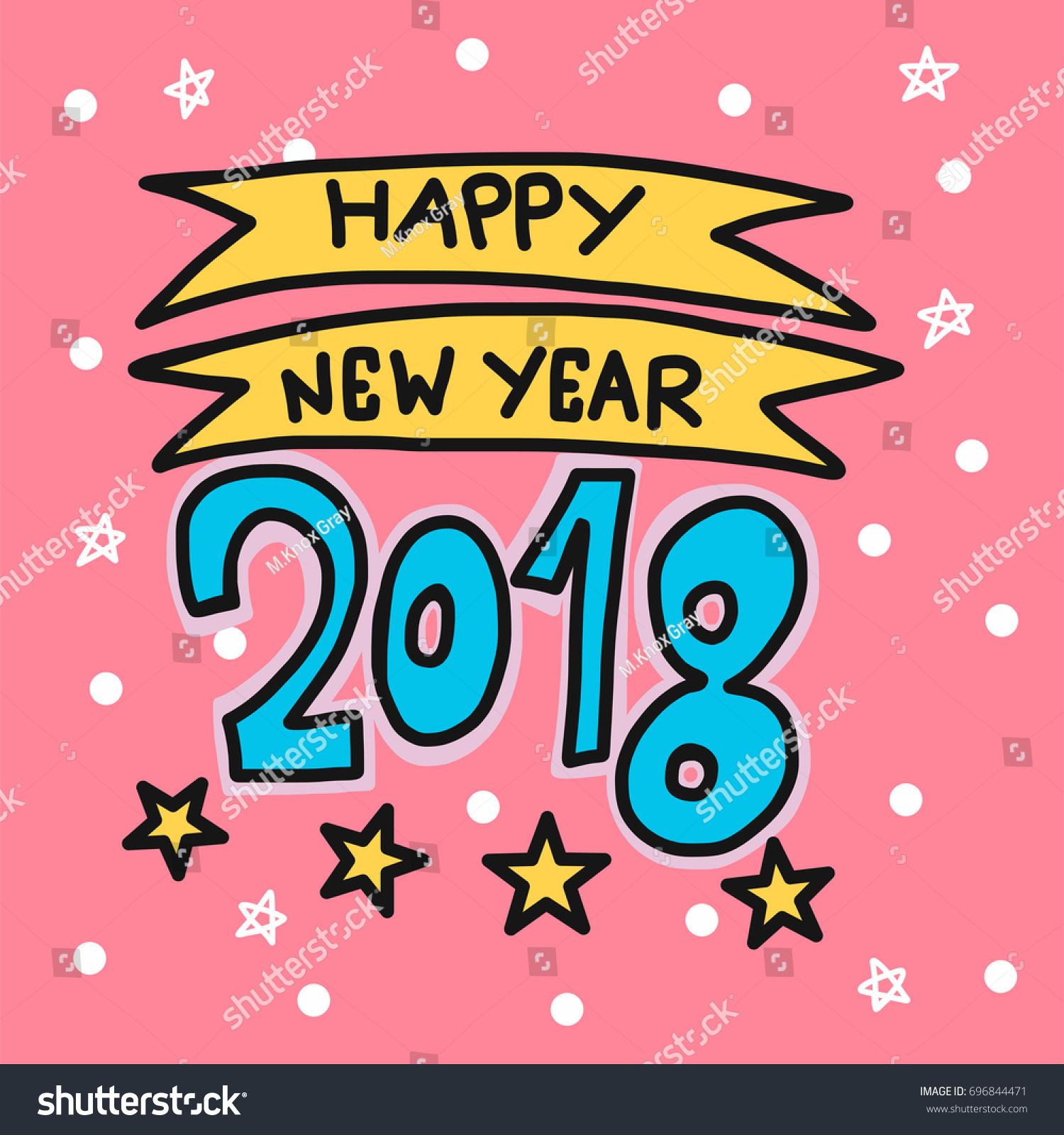happy new year 2018 cartoon vector illustration