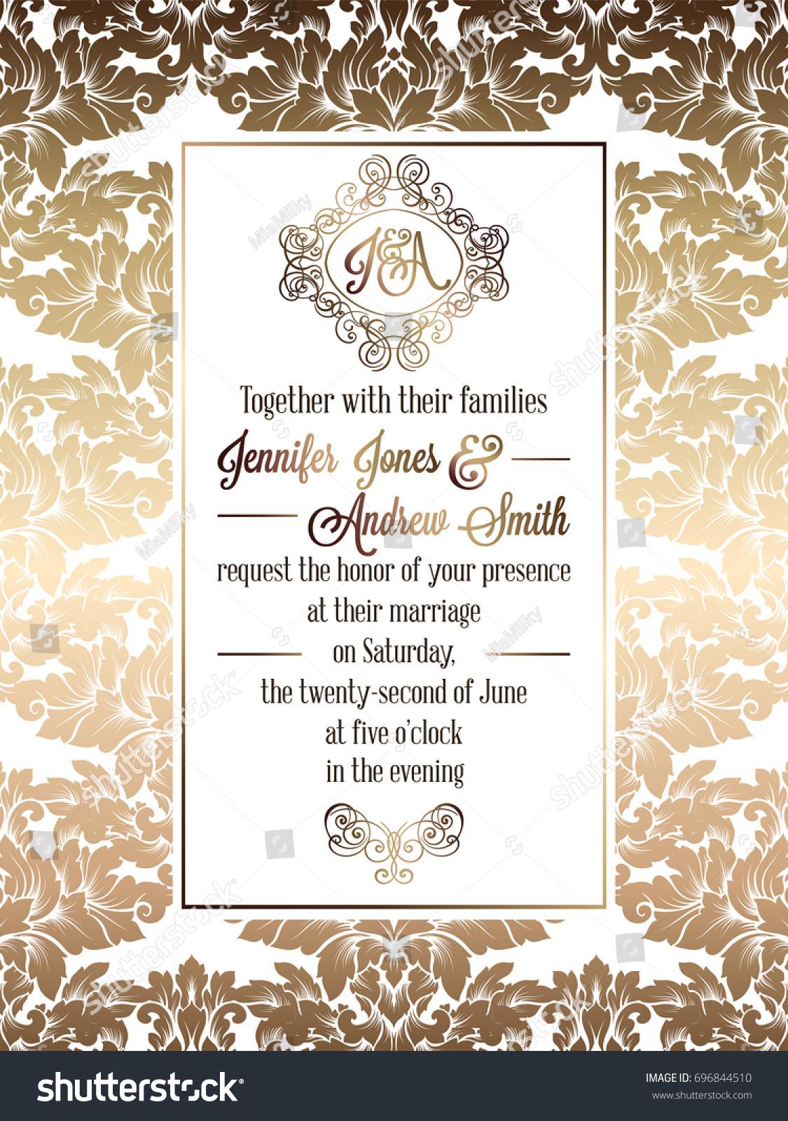 Vintage baroque style wedding invitation card stock illustration vintage baroque style wedding invitation card template elegant formal design with damask background stopboris Choice Image