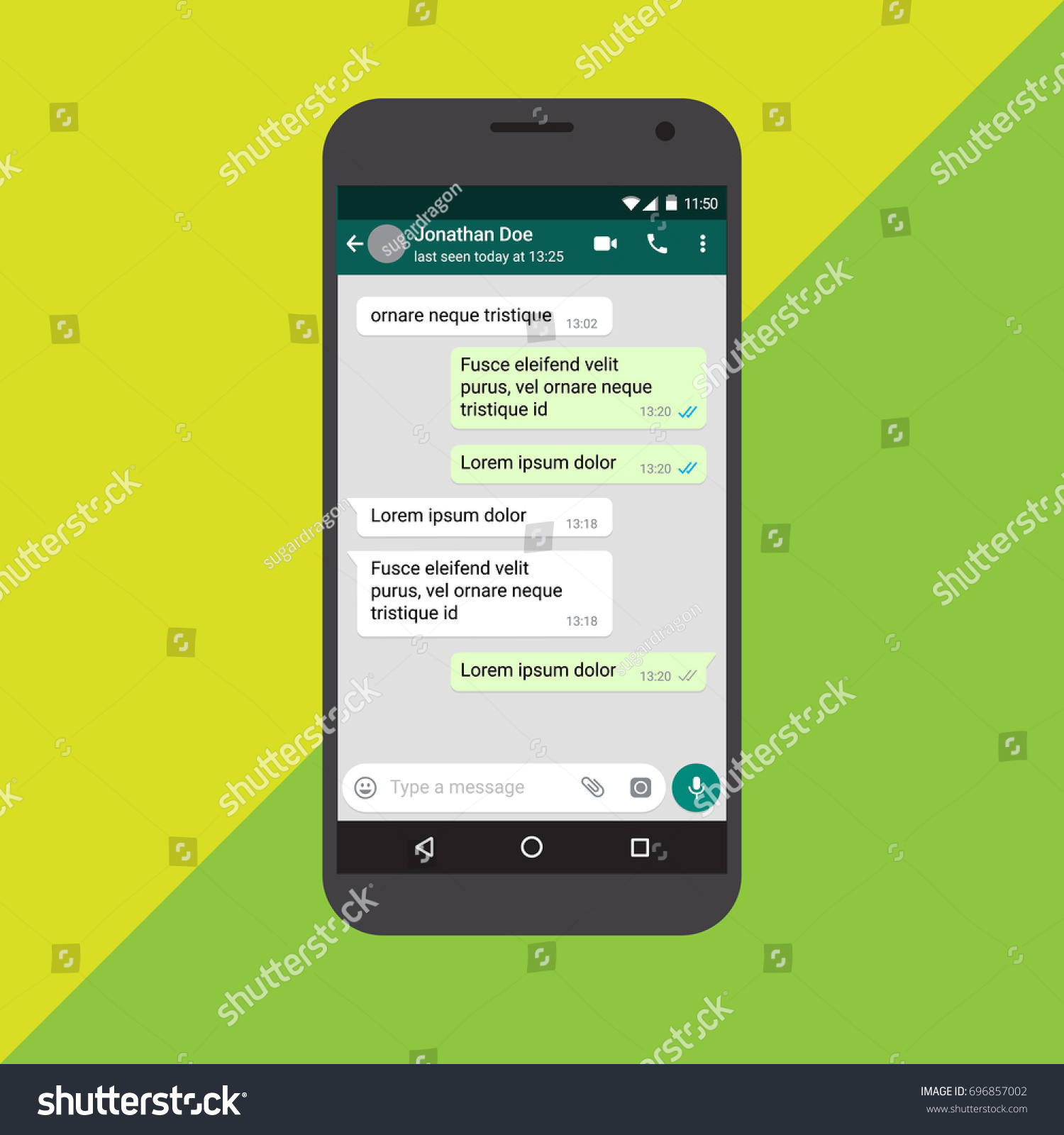 mobile chat screen app messaging template のベクター画像素材