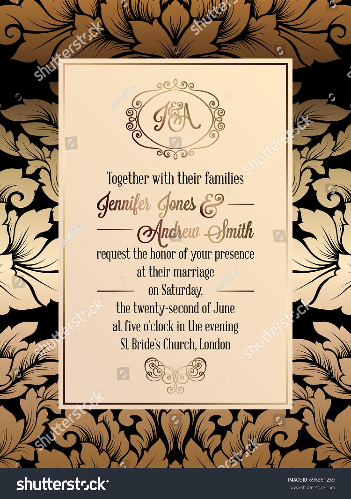 Vintage Baroque Style Wedding Invitation Card Stock Illustration ...