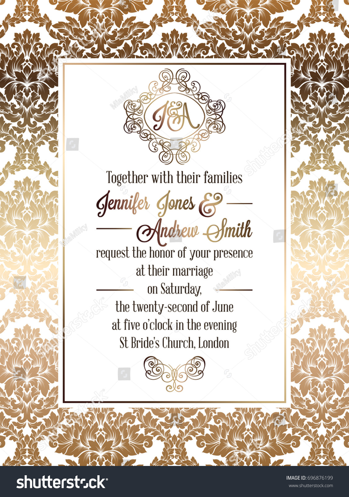 Vintage baroque style wedding invitation card stock illustration vintage baroque style wedding invitation card template elegant formal design with damask background stopboris Image collections