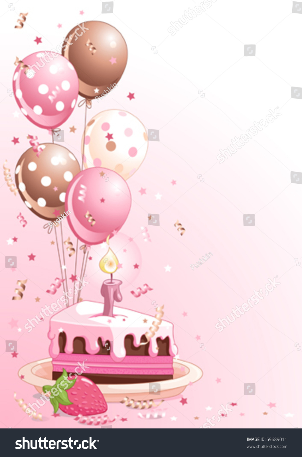 Amazing Clipart Pink Lustration Slice Birthday Cake Stock Vector Royalty Funny Birthday Cards Online Bapapcheapnameinfo