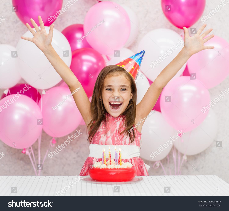 Happy Girl Party Hat Birthday Cake Stock Photo Edit Now 696902845