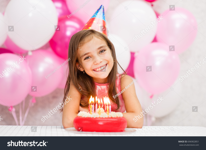 Portrait Happy Girl Party Hat Birthday Stock Photo Edit Now