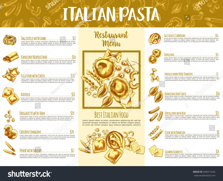 Italian Pasta Menu Template. Italian Cuisine Restaurant Traditional Food  Menu List Of Pasta Served With