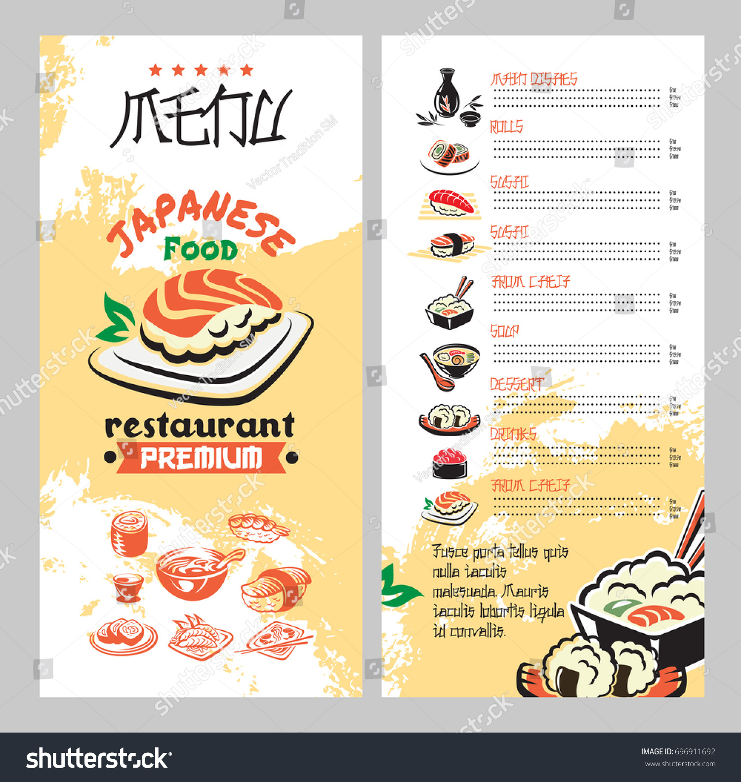Japanese food asian cuisine restaurant menu stock vector 696911692 japanese food for asian cuisine restaurant menu template seafood rice sushi roll with salmon pronofoot35fo Choice Image