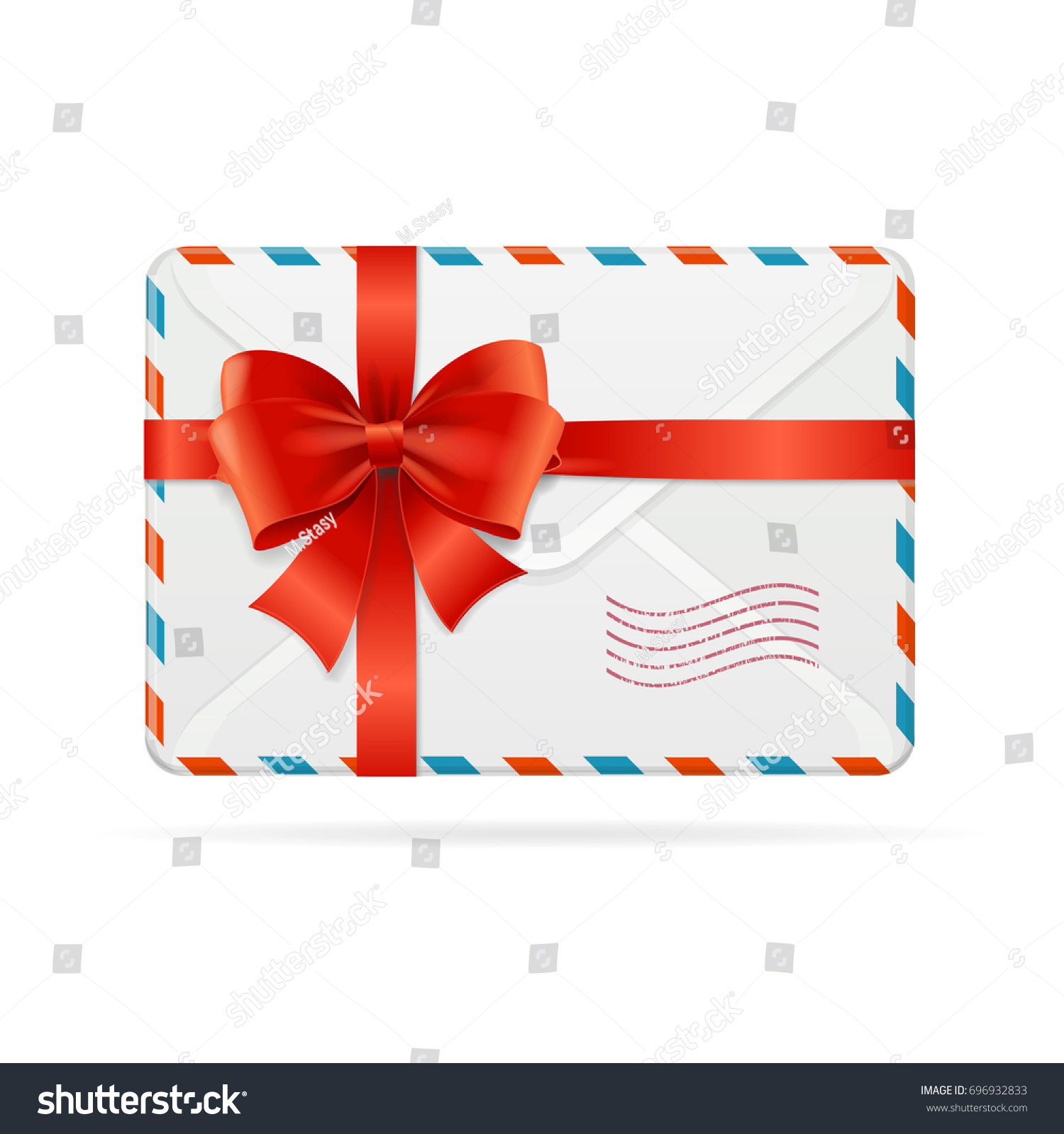 Pest Control In Bow Mail: Mail Envelope Delivery Red Bow Ribbon Stock Illustration